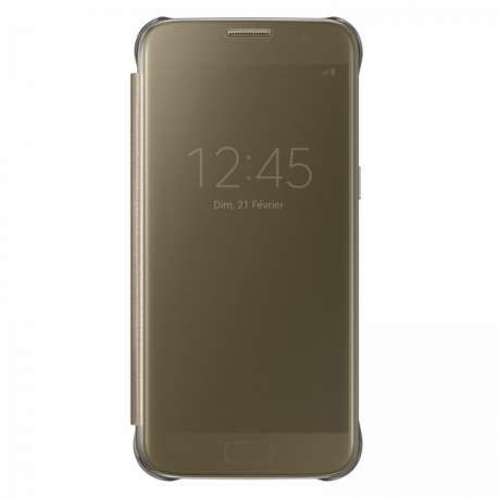Clear View Cover Samsung S7 - Gold / Black