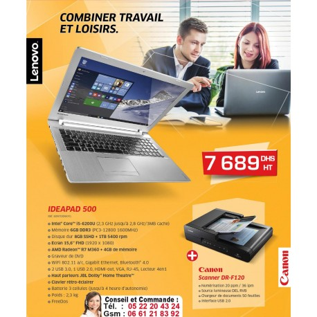 PROMOTION LENOVO IDEAPAD 500 PLUS SCANNER CANON DR F-120