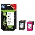 Cartouches d'encre noire + trois couleurs HP 122