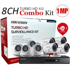 Hikvision PACK-8-HDTVI - 1 DVR 8CH TURBO HD + 4 CAMERAS MINI BULLET TURBO + 4 CAMERAS MINI BDOME TURBO