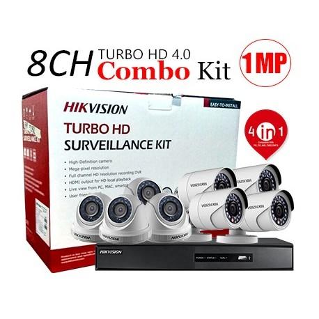 Hikvision PACK-8-HDTVI - 1 DVR 8CH TURBO HD + 4 CAMERAS MINI BULLET TURBO + 4 CAMERAS MINI BDOME TURBO