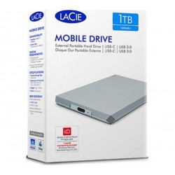 """Disque dur externe 2.5"""" LACIE sur port USB 3.1 Type-C 1To (STHG1000400)"""