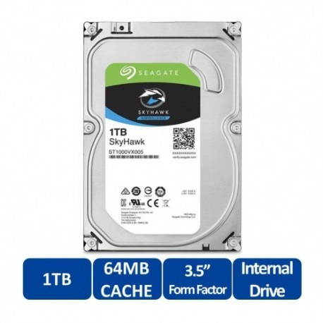 "Disque dur interne Seagate SKYHAWK - Surveillance 1 TB 64MB 3,5"" (ST1000VX005)"