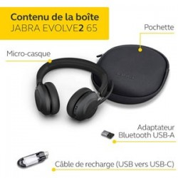 Micro Casque JABRA EVOLVE2 65 - USB MS