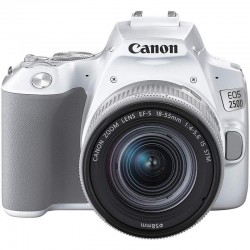 Appareil Canon EOS 250D, blanc + objectif EF-S 18-55mm f/4-5.6 IS STM