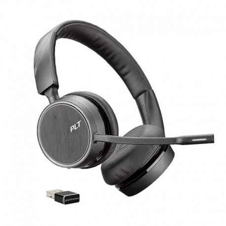 Casque Voyager Plantronics 4220 UC stéréo professionnel Bluetooth avec dongle USB